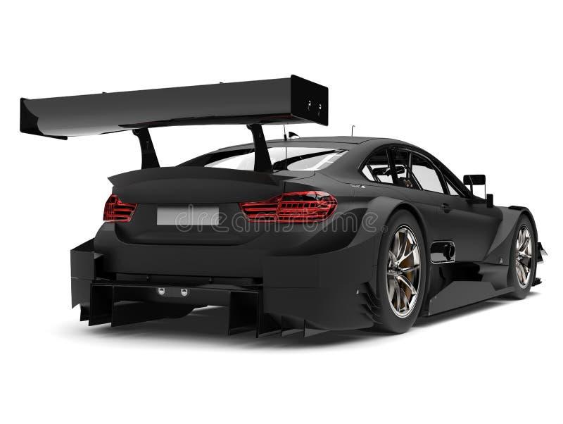 表面无光泽的黑超级种族车的后方翼视图 向量例证