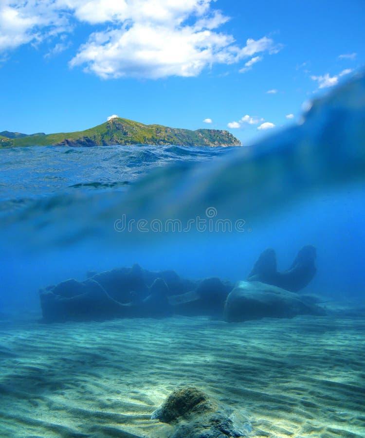 表面水下的击毁 库存照片