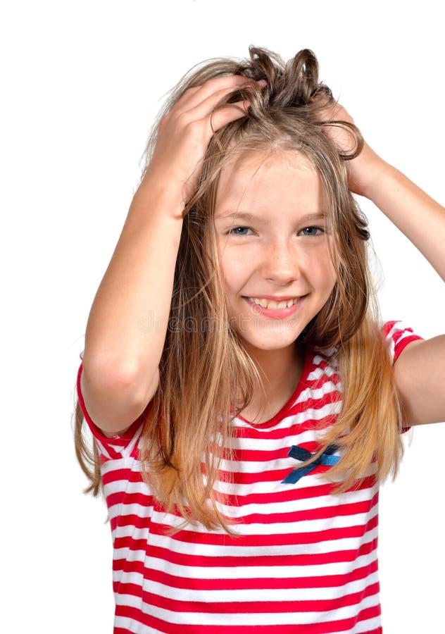 表面滑稽的女孩头发 免版税库存图片