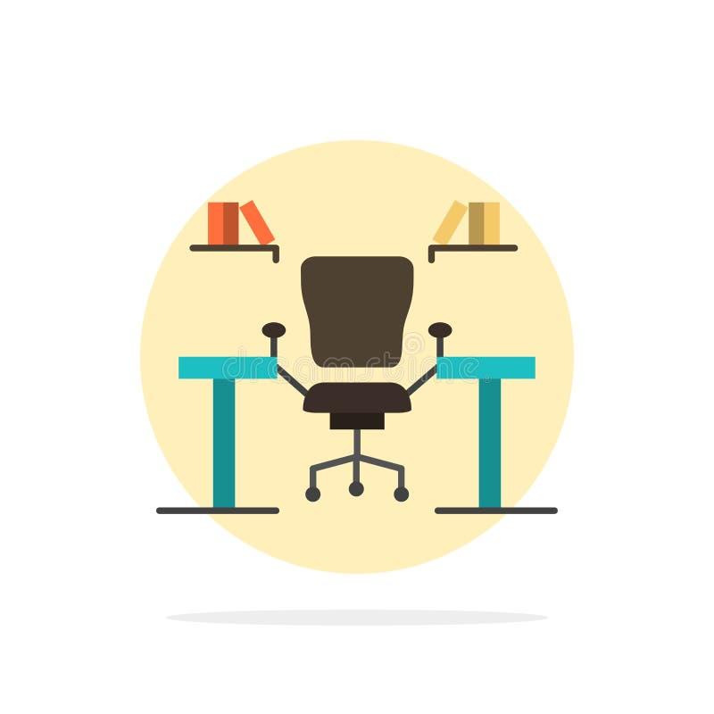 表,事务,椅子,计算机,书桌,办公室,工作场所摘要圈子背景平的颜色象 库存例证