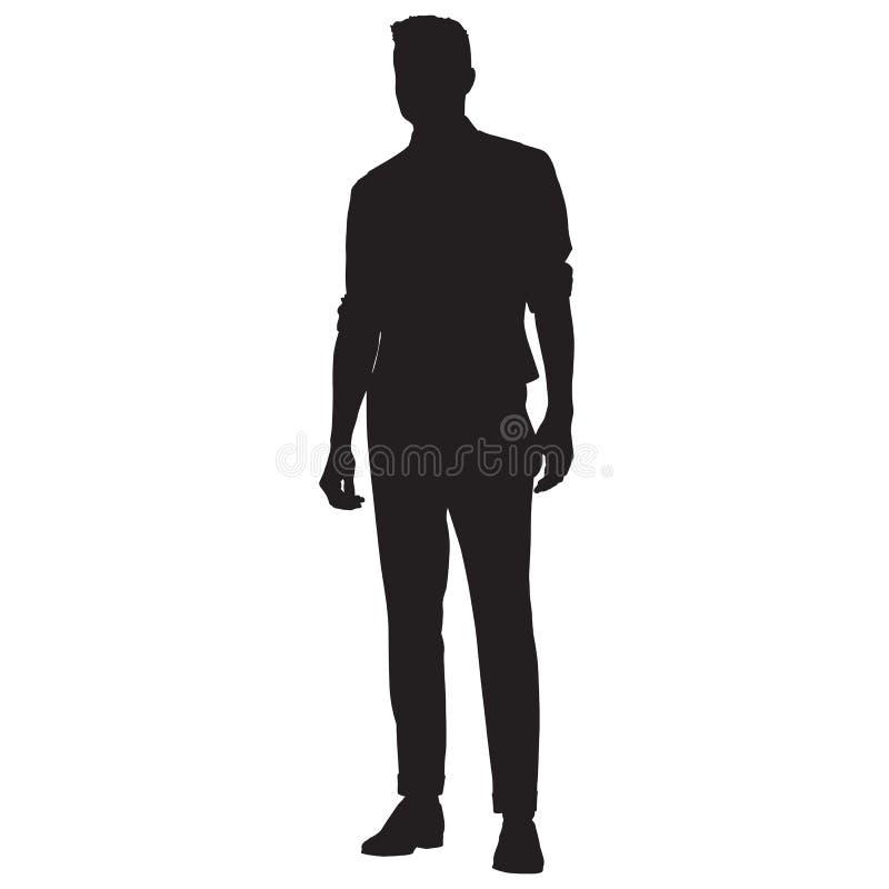 衬衣、背心和裤子站立的年轻人 库存例证