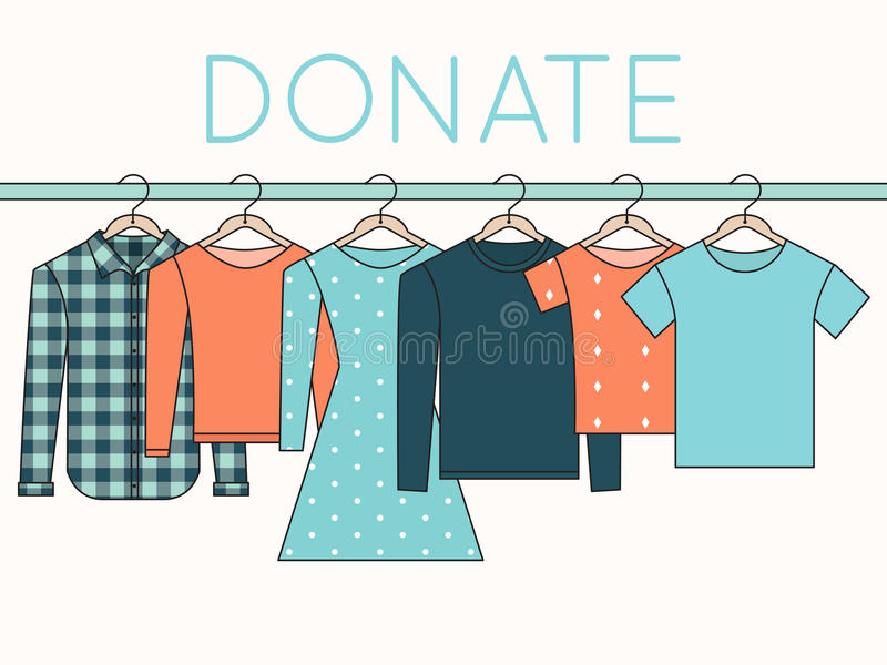衬衣、运动衫和礼服在挂衣架 捐赠衣裳例证 向量例证
