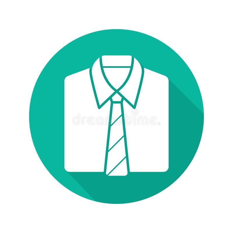 衬衣和领带平的设计长的阴影象 库存例证
