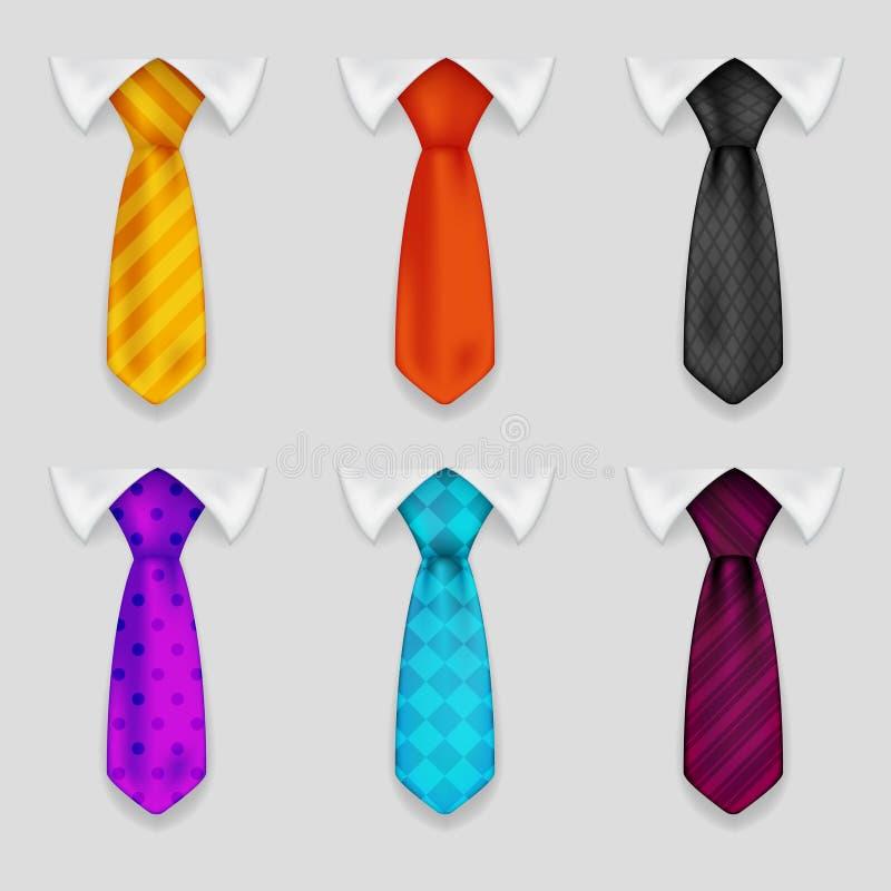 衬衣和领带现实象设置了bacground 3d设计传染媒介例证 向量例证