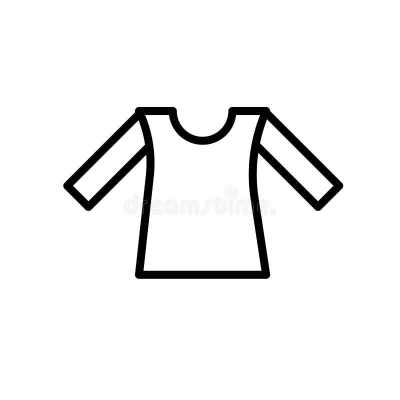 衬衣在白色背景、衬衣标志、线或者线性标志隔绝的象传染媒介,在概述样式的元素设计 库存例证