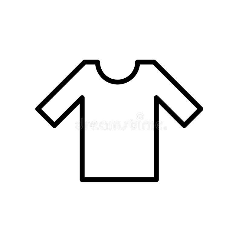 衬衣在白色背景、衬衣标志、线或者线性标志隔绝的象传染媒介,在概述样式的元素设计 皇族释放例证