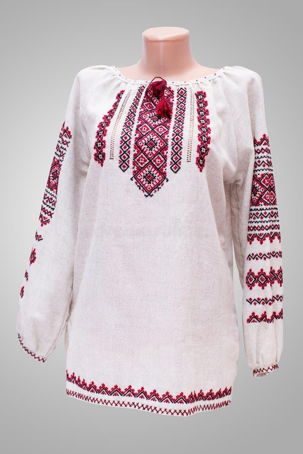 衬衣女性全国民间传说,一套民间服装乌克兰,隔绝在灰色白色背景 库存图片