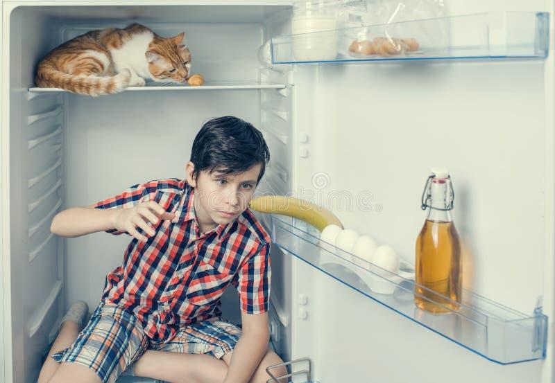 衬衣的一个与红色猫的男孩和短裤在冰箱里面 男孩采取香蕉 库存图片