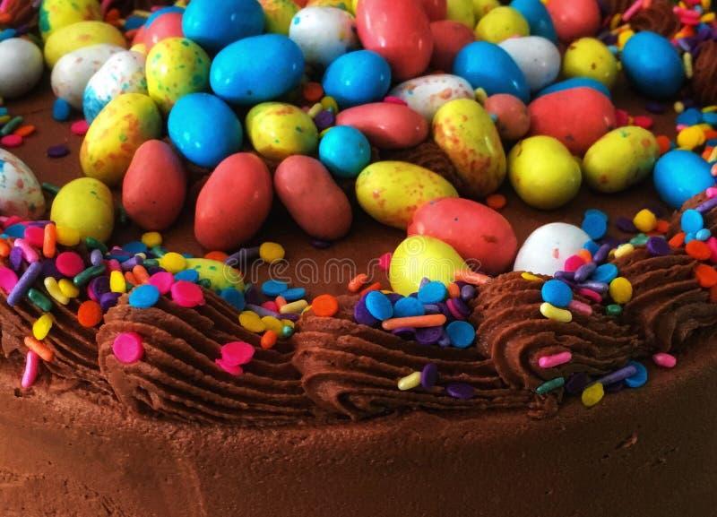 衰落!庆祝春天巧克力蛋糕 免版税库存照片