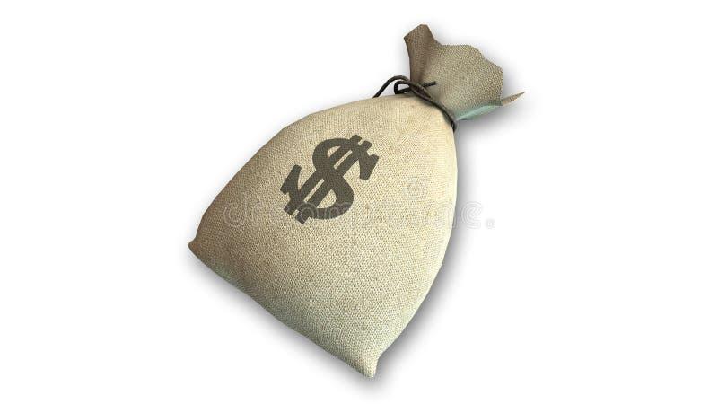 袋子与美元标志的金钱 库存例证