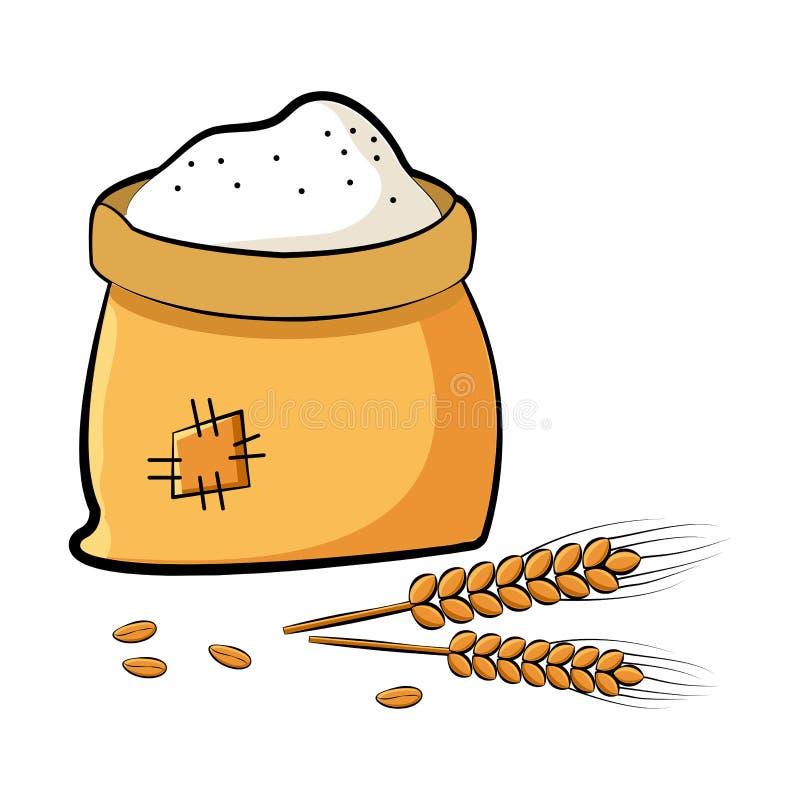 袋子与麦子钉和五谷的面粉 ?? 皇族释放例证