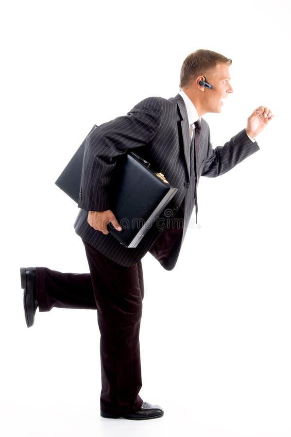 袋子人办公室专业运行中 免版税库存照片