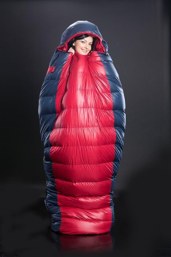 袋子休眠的妇女 图库摄影