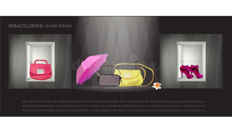 袋子伞和鞋子在商店窗口里 皇族释放例证