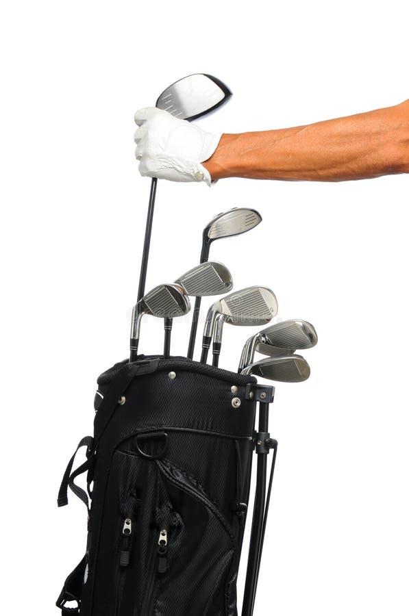 袋子俱乐部高尔夫球运动员采取 免版税库存图片