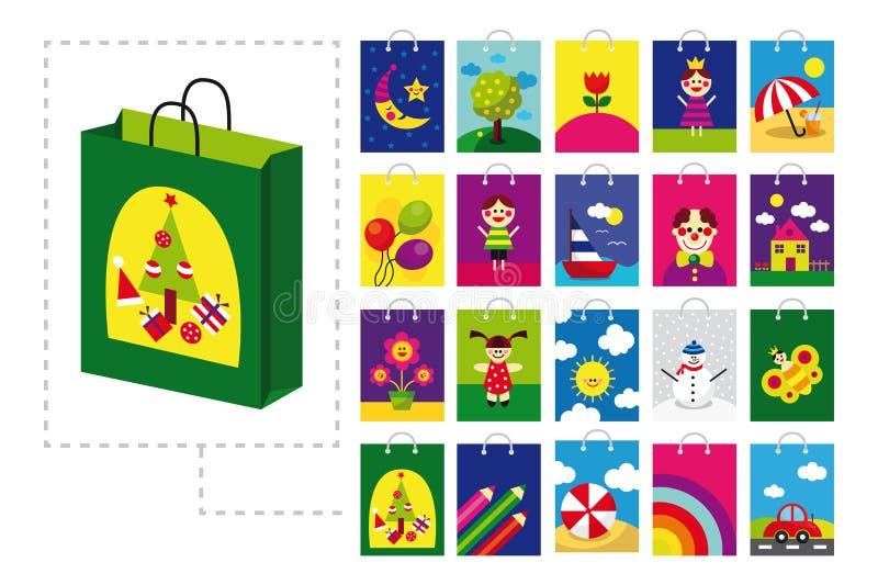 袋子儿童购物 免版税库存照片