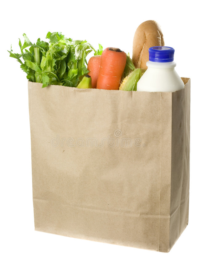 袋子充分的副食品纸张 库存照片