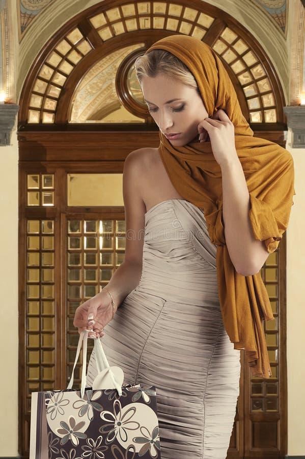 袋子典雅的女孩她查找的购物 库存照片