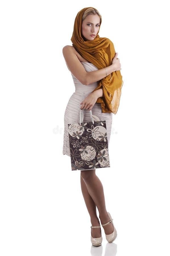 袋子典雅的方式女花童购物 免版税图库摄影