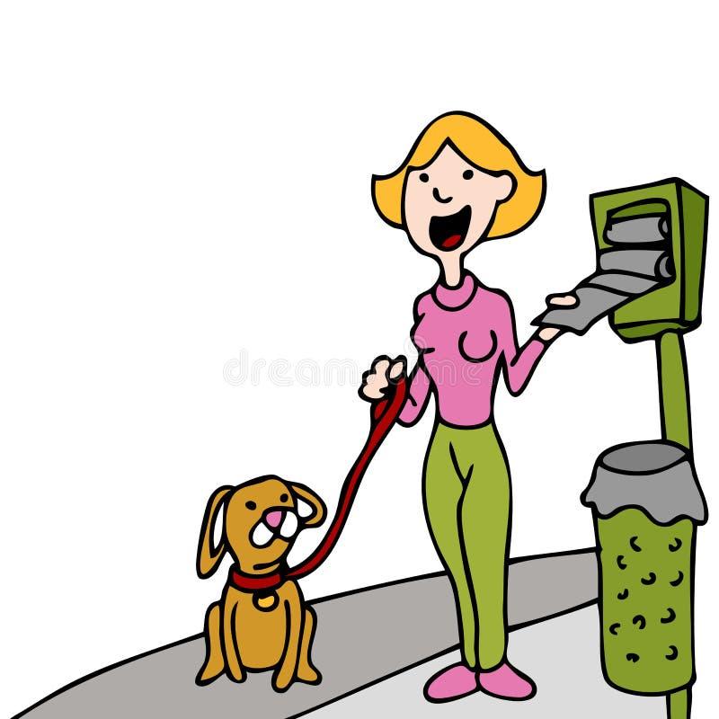 袋子分配器使用走的浪费的狗宠物 皇族释放例证