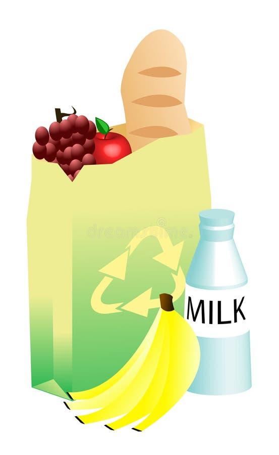 袋子副食品纸回收的向量 库存例证