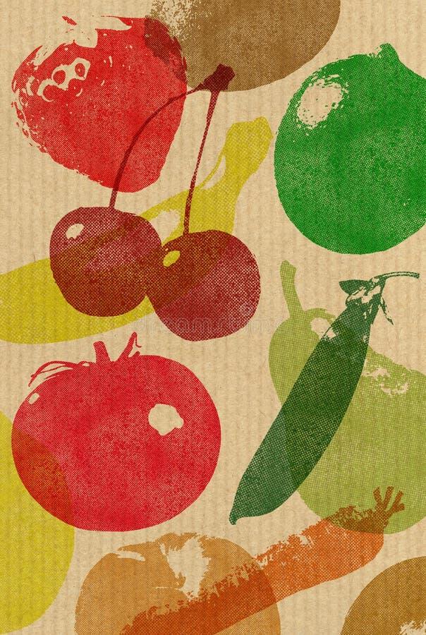 袋子副食品纸张放映式打印 库存例证