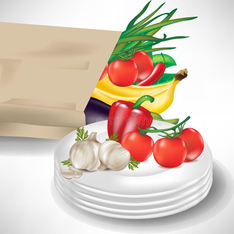 袋子副食品镀蔬菜 库存例证