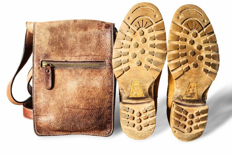 袋子和鞋子在白色背景 免版税图库摄影