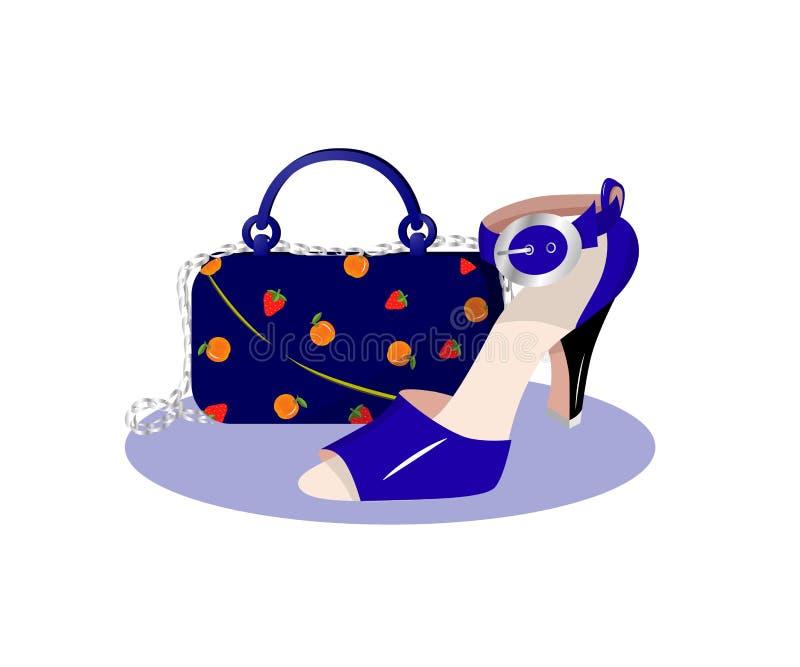 袋子和鞋子的例证 向量 平的样式 向量例证