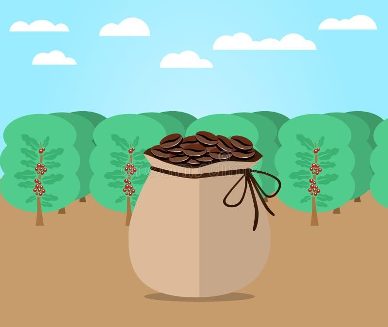 袋子咖啡平的设计 向量例证
