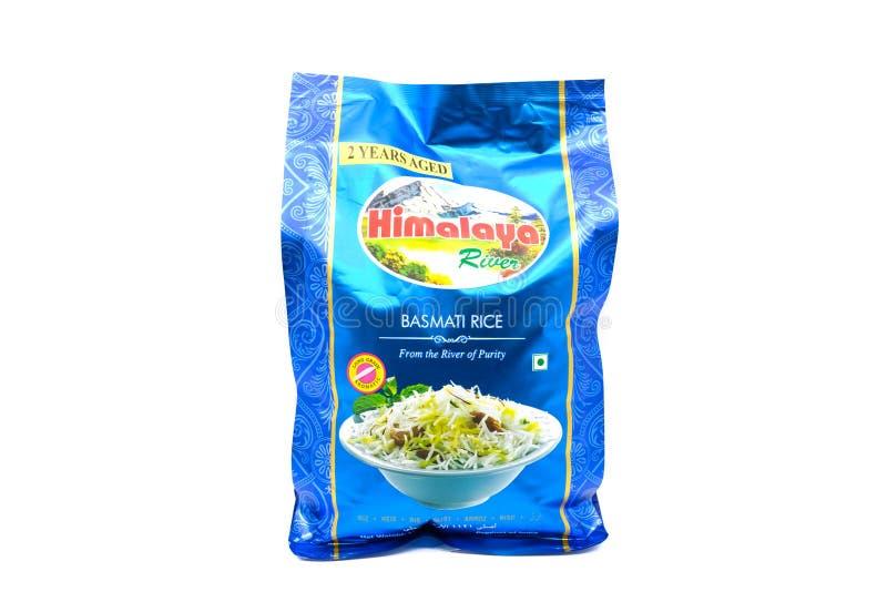 袋子在可再循环的小包的印度大米 免版税库存图片