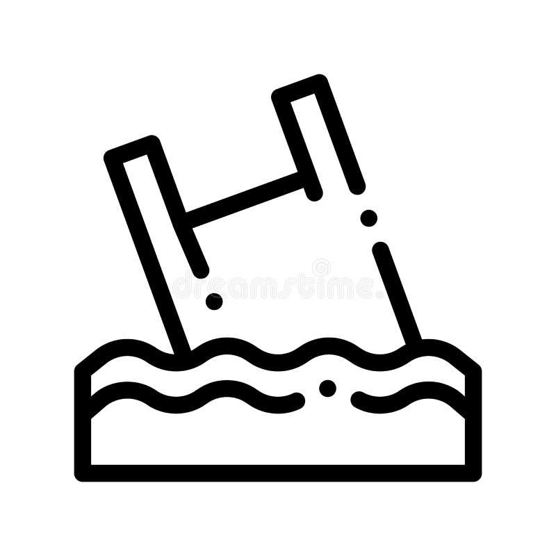 袋子在海洋传染媒介稀薄的线象的破烂物漂在海上的难船 向量例证