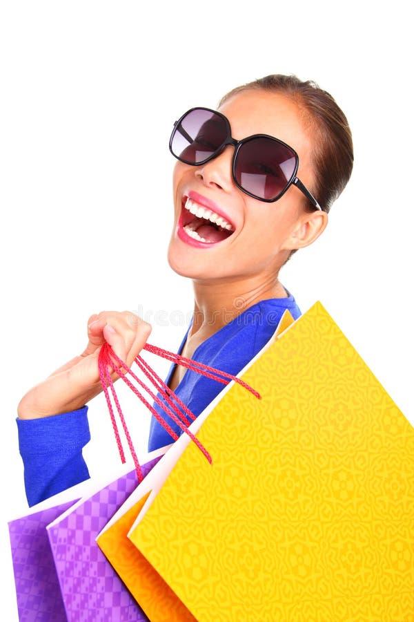 袋子塑造愉快的购物妇女 免版税库存照片