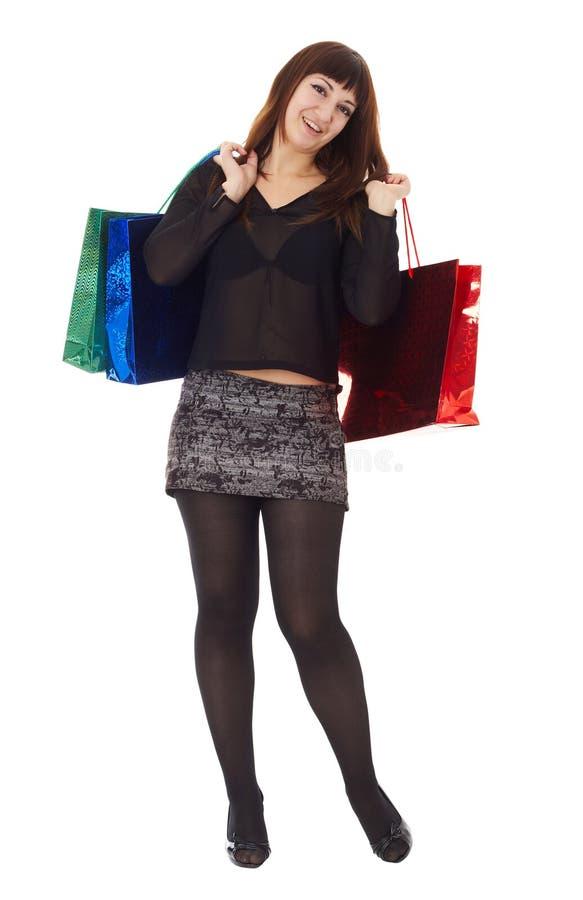 袋子女孩购物 图库摄影