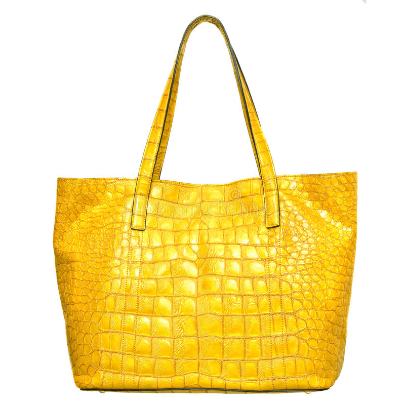 袋子女性查出的皮革豪华空白黄色 库存图片