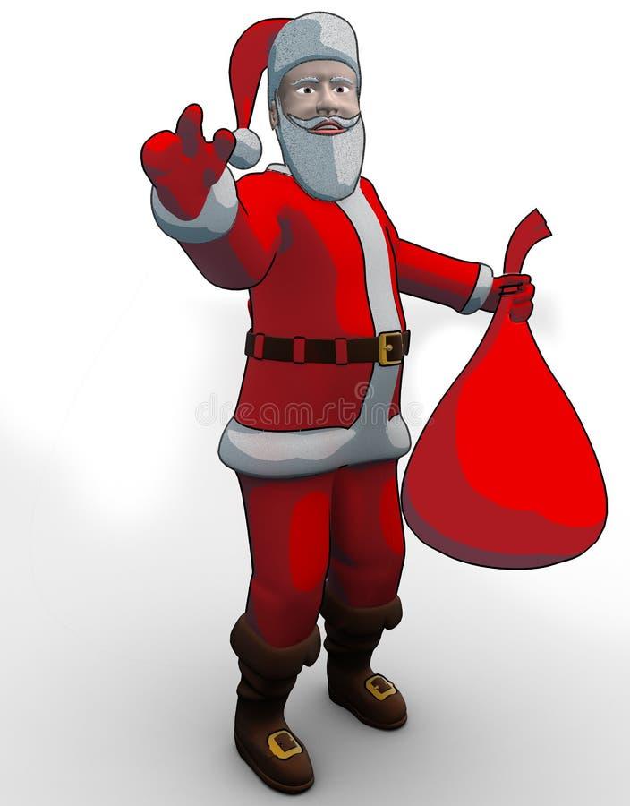 袋子拿着的圣诞老人 库存照片