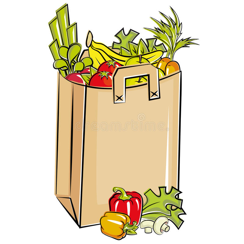 袋子新鲜的充分的副食品 皇族释放例证