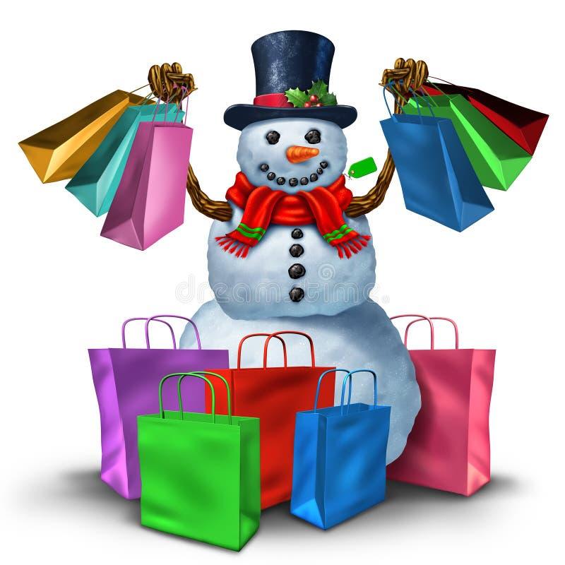 袋子方式购物冬天妇女 库存例证