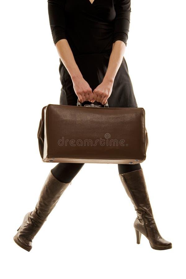 袋子暂挂老葡萄酒妇女 免版税图库摄影
