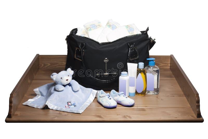 袋子更改的尿布表 免版税库存图片