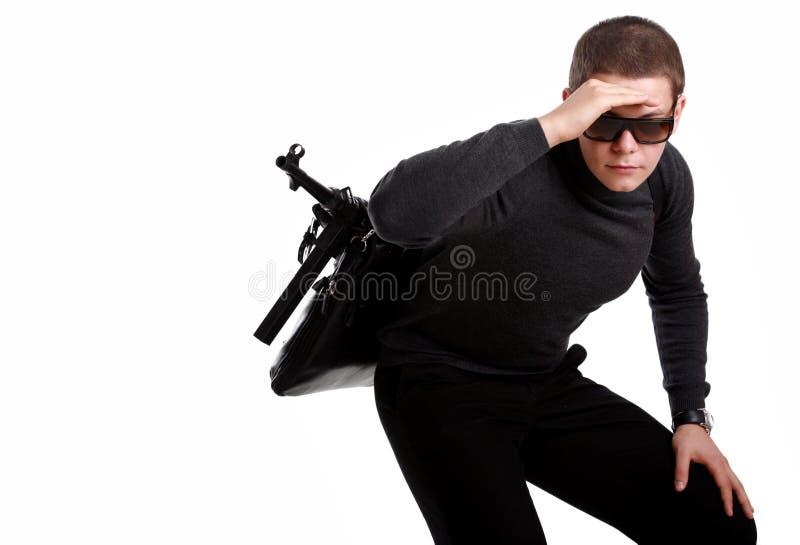 袋子枪人 免版税库存照片