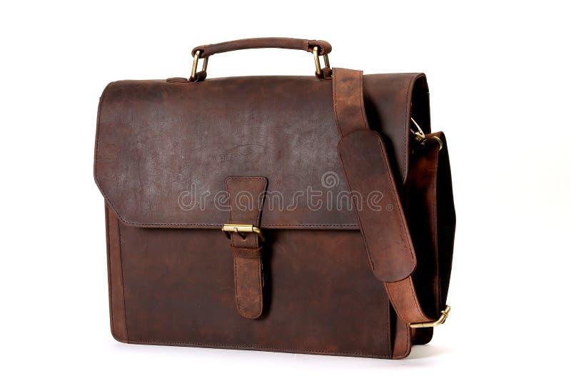 袋子查出的皮革白色 免版税库存图片