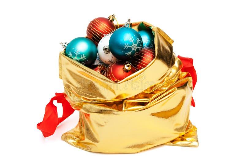 袋子球圣诞节金子 库存照片