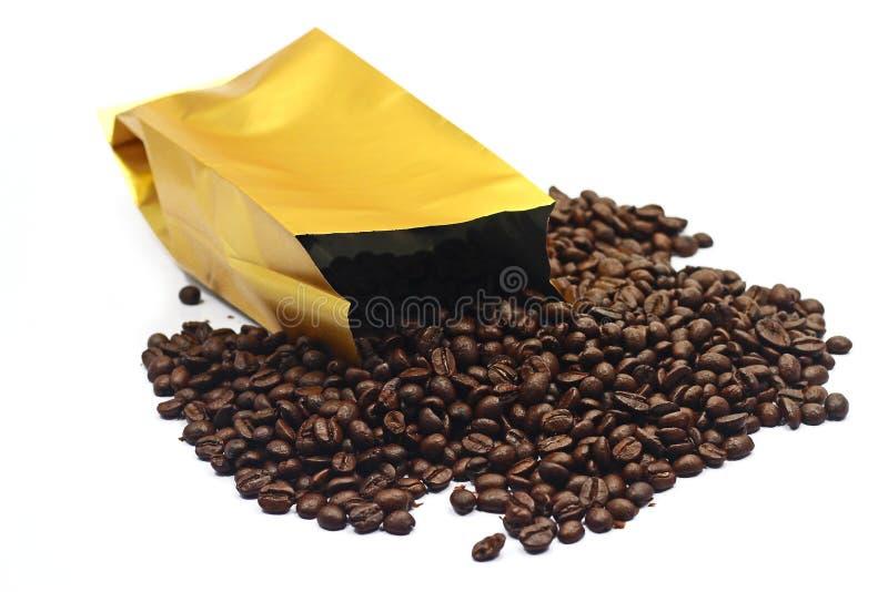 袋子用咖啡豆 库存图片