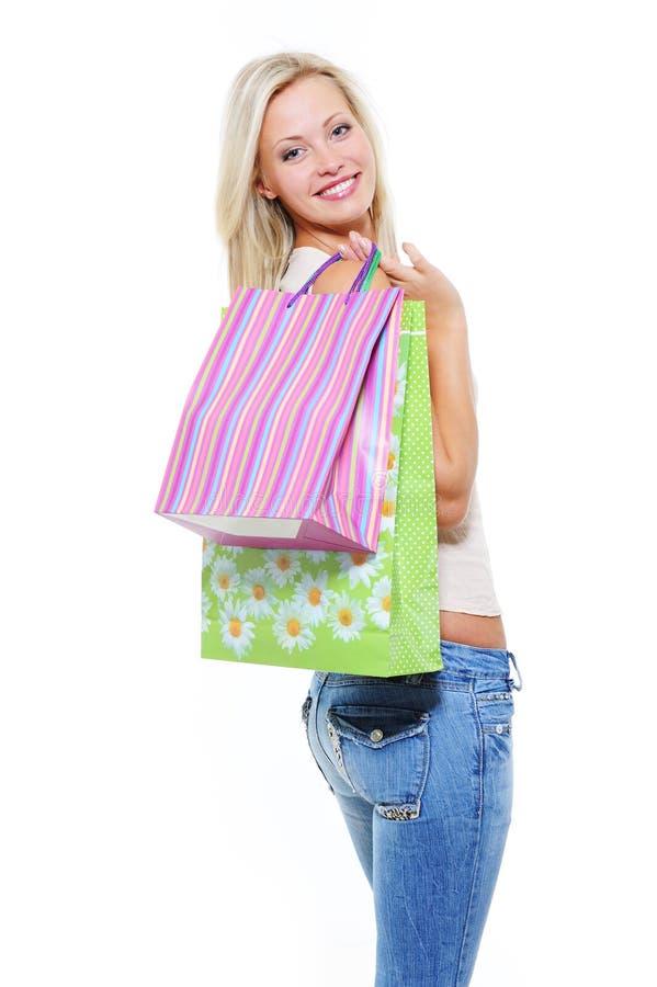 袋子相当采购妇女 免版税图库摄影