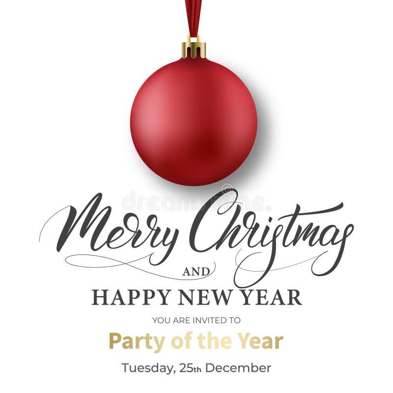 袋子看板卡圣诞节霜klaus ・圣诞老人天空 与红色球和圣诞快乐书法的寒假设计 皇族释放例证