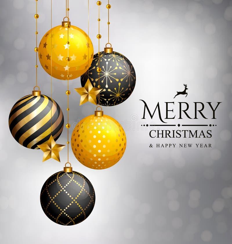 袋子看板卡圣诞节霜klaus ・圣诞老人天空 Xmas金黄球和星 皇族释放例证