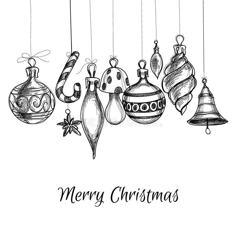 袋子看板卡圣诞节霜klaus ・圣诞老人天空 向量例证