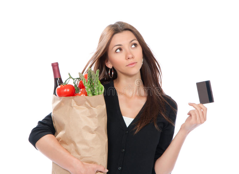 袋子看板卡赊帐充分的购物妇女 库存照片