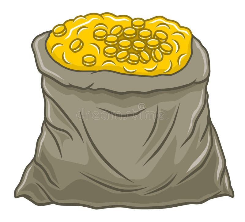 袋子硬币 库存例证
